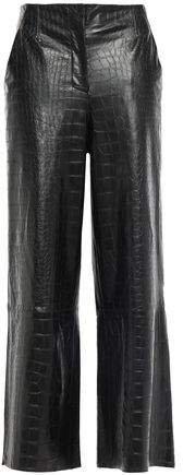 Cropped Croc-effect Vegan Leather Wide-leg Pants