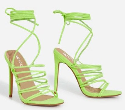 Lime Green Heeled Sandals