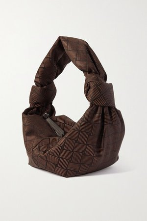 Jodie Mini Knotted Leather-trimmed Jacquard Tote - Brown