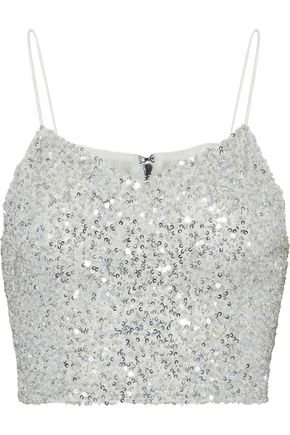 Archer cropped sequined tulle top   AO.LA by ALICE + OLIVIA   Sale up to 70% off   THE OUTNET