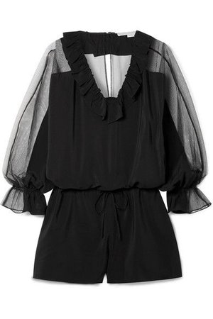 Stella McCartney - Ruffled silk crepe de chine and cotton-blend tulle playsuit