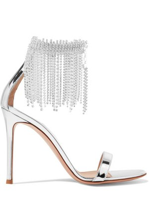 Gianvito Rossi   100 crystal-embellished metallic leather sandals   NET-A-PORTER.COM