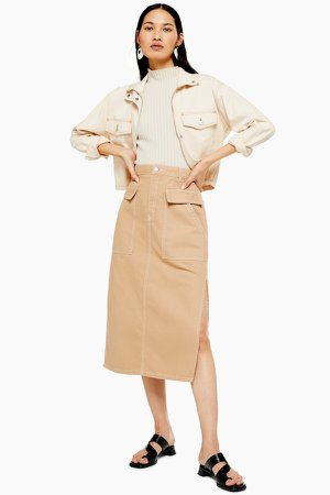 Sand Denim Midi Skirt With Flap Pockets