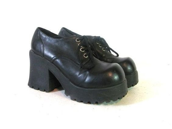 90s Black Platform Shoes