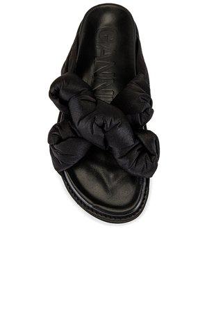 Ganni Knotted Platform Sandal in Black | REVOLVE