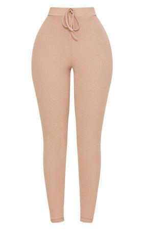 Shape Nude Ribbed High Waist Leggings | Curve | PrettyLittleThing USA