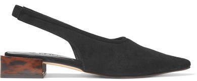 Suede Slingback Pumps - Black