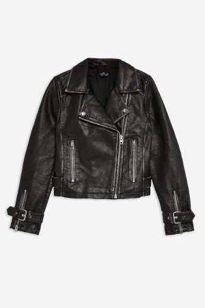 PETITE Washed PU Biker Jacket | Topshop