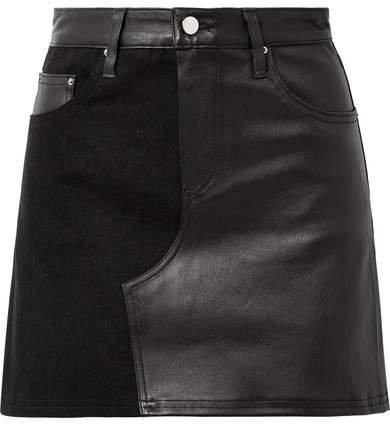 Leather And Denim Mini Skirt - Black
