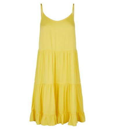 Yellow Tiered Crepe Sundress | New Look