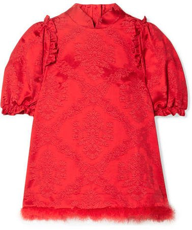 Feather-trimmed Cotton-blend Brocade Blouse - Red