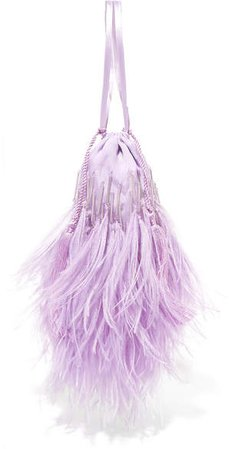 Feather-trimmed Beaded Satin Pouch - Lilac