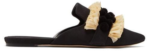Sanayi 313 - Marila Raffia & Pompom Backless Loafers - Womens - Black Cream