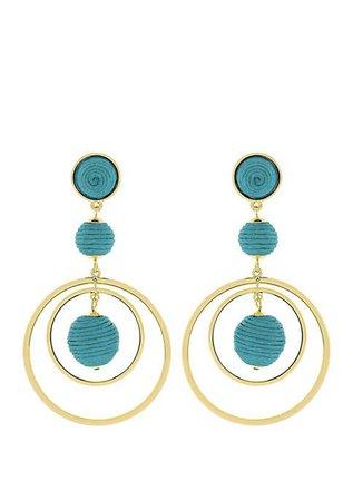 Jessica Simpson Thread Ball Front Hoop Earrings