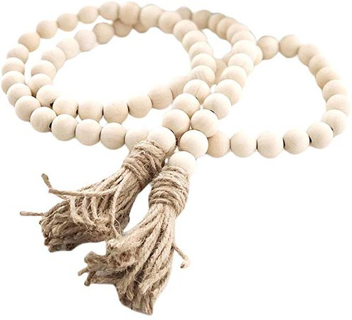Amazon.com: LIOOBO Wood Bead Garland Farmhouse Rustic Country Beads Holiday Decoration Wall Hanging Prayer Beads: Home & Kitchen