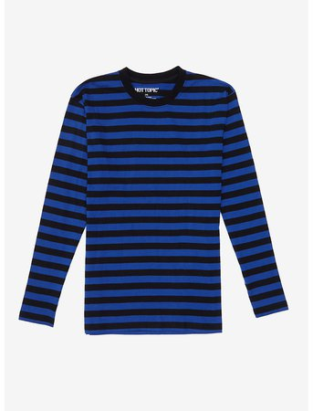 Blue & Black Stripe Long-Sleeve T-Shirt