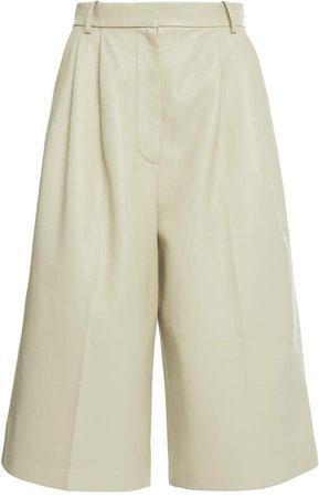 Joseph Timo Pleated Nappa Leather Wide-Leg Culottes