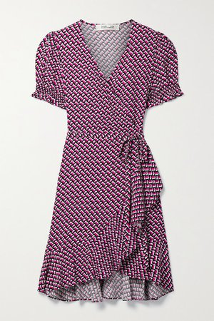 Emilia Ruffled Printed Crepe Mini Wrap Dress - Bright pink