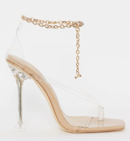 NUDE PATENT CLEAR CHAIN THONG STILETTO HEELS