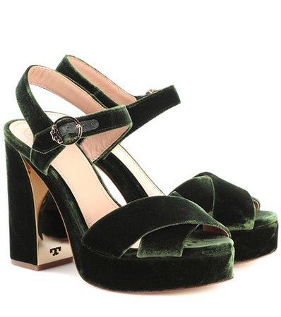 Loretta 115 velvet plateau sandals