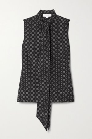 Black Pussy-bow printed silk blouse | Michael Kors Collection | NET-A-PORTER