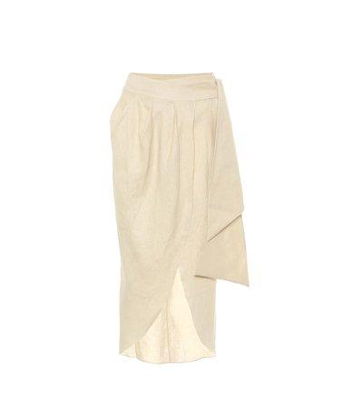 Map Reader Linen Wrap Skirt - Johanna Ortiz