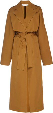 Flared Cotton-Blend Trench Coat