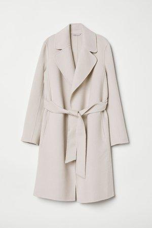 Wool-blend coat - Light beige - Ladies   H&M