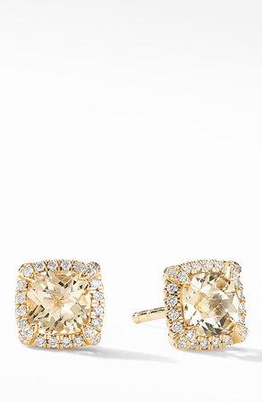 David Yurman Petite Chatelaine® Pavé Bezel Stud Earrings in 18k Gold | Nordstrom