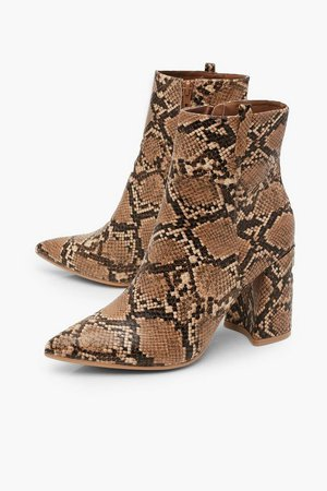 Snake Pointed Shoe Boots | Boohoo UK brown