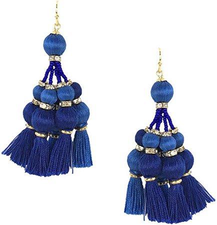 Amazon.com: Kate Spade Pretty Poms Tassel Statement Earrings, Blue: Jewelry