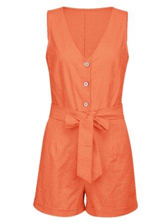 Wodstyle - Women's V Neck Romper Sleeveless Buttons Plain Summer Belt Loose Short Jumpsuit - Walmart.com - Walmart.com