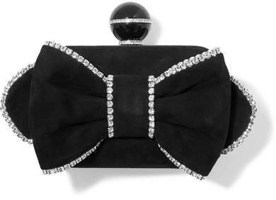 Cloud Crystal-embellished Suede Clutch - Black