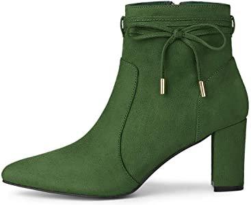 Amazon.com | Allegra K Women's Pointed Block Heel Zip Green Ankle Boots - 5.5 M US | Ankle & Bootie