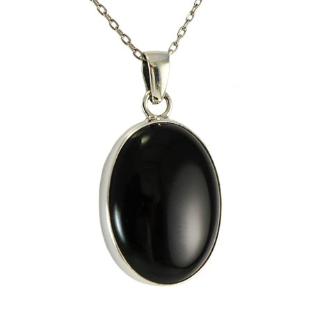 Amazon.com: Sterling Silver 925 Black Onyx Oval Pendant Necklace 16+2 inches Chain - Elegant Gift Box: Handmade