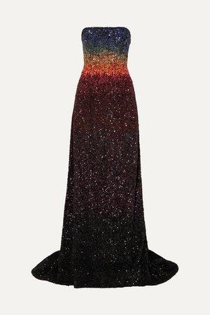 Ong-Oaj Pairam | Barbora strapless dégradé sequined silk-satin gown | NET-A-PORTER.COM