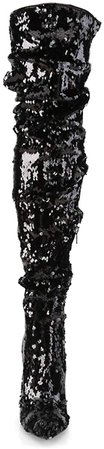 (Black/Glitter) Pleaser Women's Courtly-3011 Thigh-high Boot | Boots