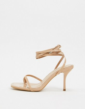 Simmi London Kimberly strappy ankle tie sandals in beige | ASOS
