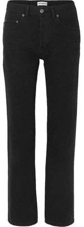 Distressed High-rise Straight-leg Jeans - Black