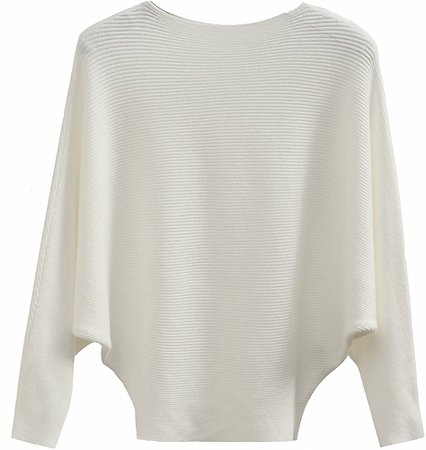 GABERLY Boat Neck Batwing Sleeves Dolman Knitted Sweaters and Pullovers Tops for Women (White, One Size) at Amazon Women's Clothing store