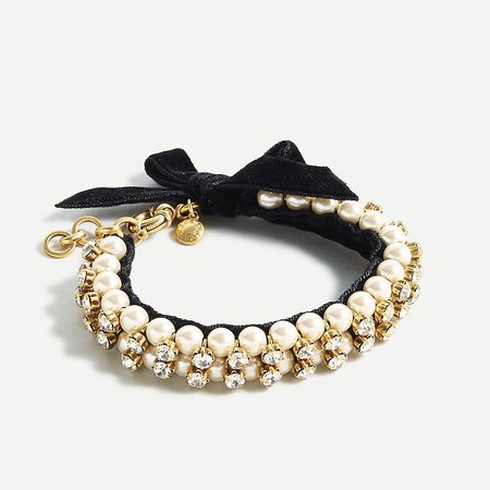 J.Crew: Pearl And Crystal Bracelet With Velvet Bow For Women
