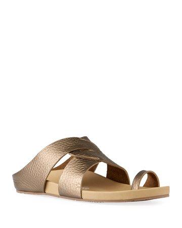 Pedro Garcia Almira Mix-Leather Slide Sandals   Neiman Marcus