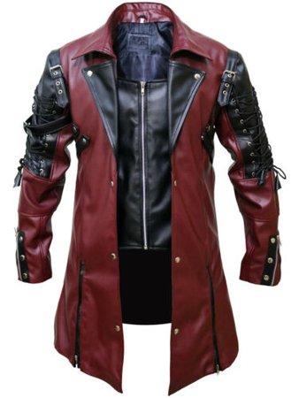 Mens Steampunk Gothic Leather Maroon Coat Jacket - All Sizes | eBay