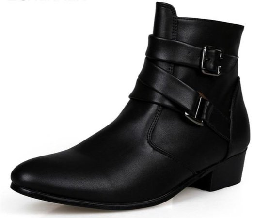 Fashion Classic Pointed Toe Men Black Ankle Boots Men Zip Chain Buckle Designer Height Increased Fashion Dress Boots