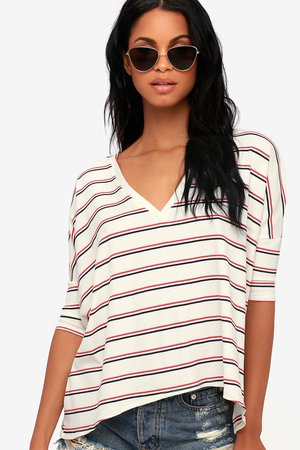 Cool Ivory Striped Tee - Oversized Tee - V-Neck Tee