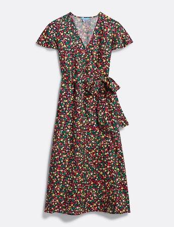 Floral Linen Wrap Dress