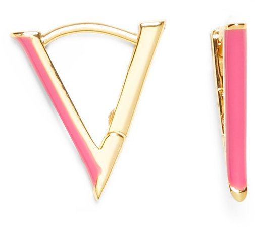 Triangular Huggie Hoop Earrings