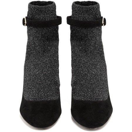 Nicholas Kirkwood Lola Faux-Pearl Glitter Sock Suede Heeled Pumps ($1,195)