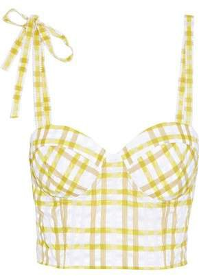 Cropped Checked Seersucker Bustier Top