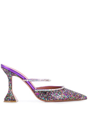 Purple Amina Muaddi Gilda Glitter Embellished Pumps   Farfetch.com